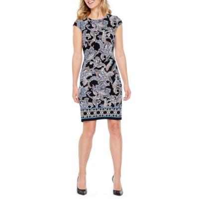Liz Claiborne Cap Sleeve Paisley Shift Dress