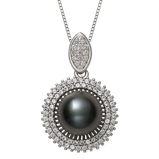 Womens Black Cultured Tahitian Pearl Sterling Silver Pendant Necklace