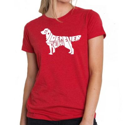 Los Angeles Pop Art Women's Premium Blend Word ArtT-shirt - Golden Retreiver