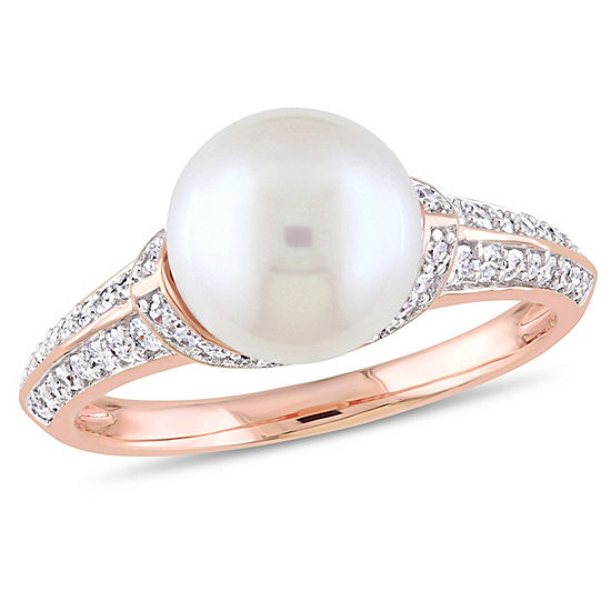 Womens 1/3 CT. T.W. 9.5M White Cultured Freshwater Pearl 10K Rose Gold Cocktail Ring