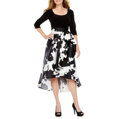 R & M Richards 3/4 Sleeve Belted High Low Dress