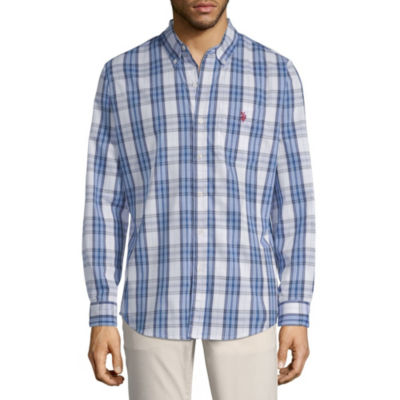 U.S. Polo Assn. Mens Long Sleeve Plaid Button-Front Shirt