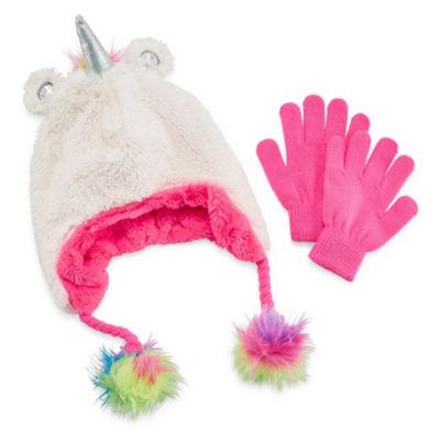 Capelli of N.Y. 2pc Unicorn Hat and Glove Set-Big Girls