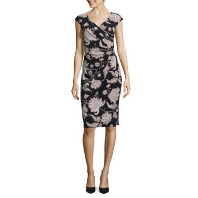 Ronni Nicole Cap Sleeve Floral A-Line Dress-Petite