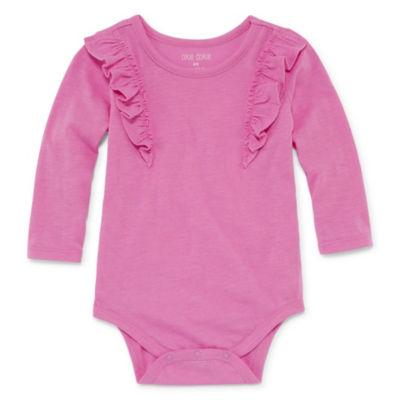 Okie Dokie Long Sleeve Ruffle Bodysuit - Baby Girl NB-24M
