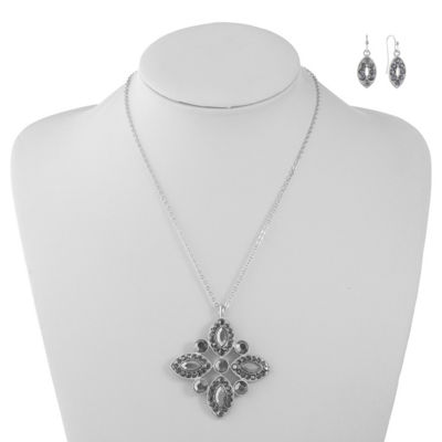 Liz Claiborne Womens Gray Silver Tone 2-pc. Jewelry Set