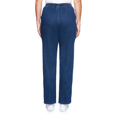 Alfred Dunner Out Of The Blue Womens High Waisted Straight Pull-On Pants