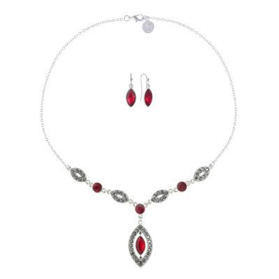 Liz Claiborne Red Silver Tone 2-pc. Jewelry Set