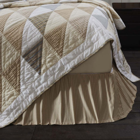 VHC Boho & Eclectic Farmhouse Bedding - Joanna Ticking Stripe Bed Skirt