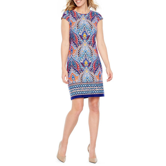 Liz Claiborne Cap Sleeve Pattern Shift Dress