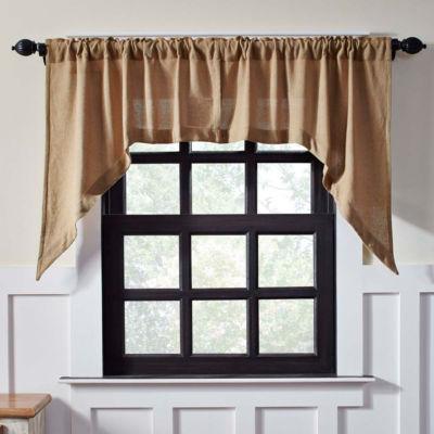 Farmhouse Window Burlap Natural Swag Pair