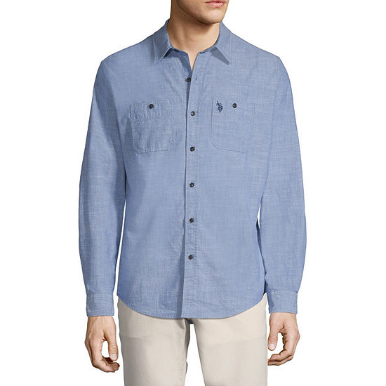 Us Polo Assn Mens Long Sleeve Button Front Shirt Slim