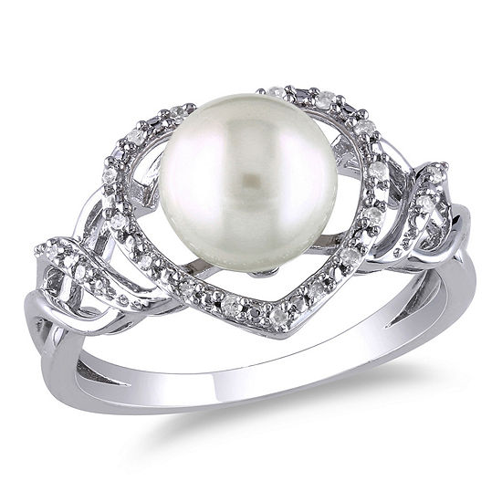 Womens 1/10 CT. T.W. 8.5MM White Cultured Freshwater Pearl Sterling Silver Cocktail Ring