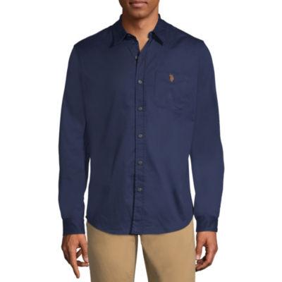 U.S. Polo Assn. Mens Long Sleeve Button-Front Shirt Slim