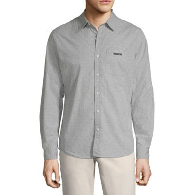 U.S. Polo Assn. Mens Long Sleeve Dots Button-Front Shirt Slim