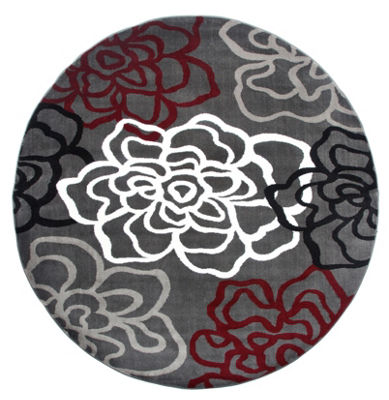 World Rug Gallery Contemporary Modern Floral Flowers Round Area Rug