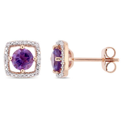 Diamond Accent Genuine Purple Amethyst 10K Rose Gold 8.4mm Square Stud Earrings