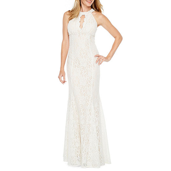 R M Richards Sleeveless Halter Lace Evening Gown