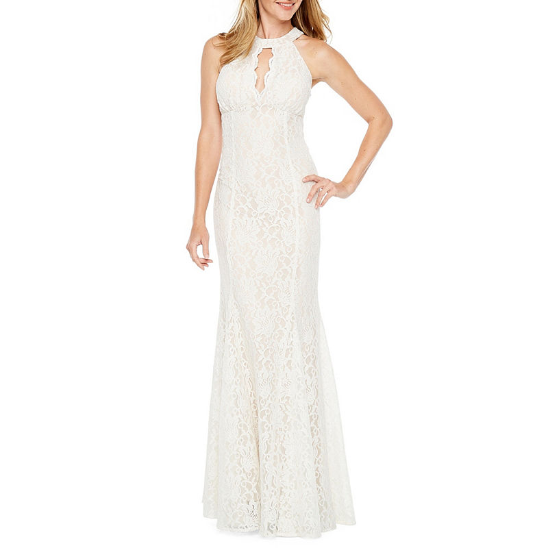 60s Wedding Dresses | 70s Wedding Dresses R  M Richards Sleeveless Halter Lace Evening Gown Womens Size 8 White $98.00 AT vintagedancer.com