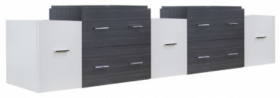 88.5-in. W 17.8-in. D Modern Wall Mount Plywood-Melamine Vanity Base Set Only In White-Dawn Grey