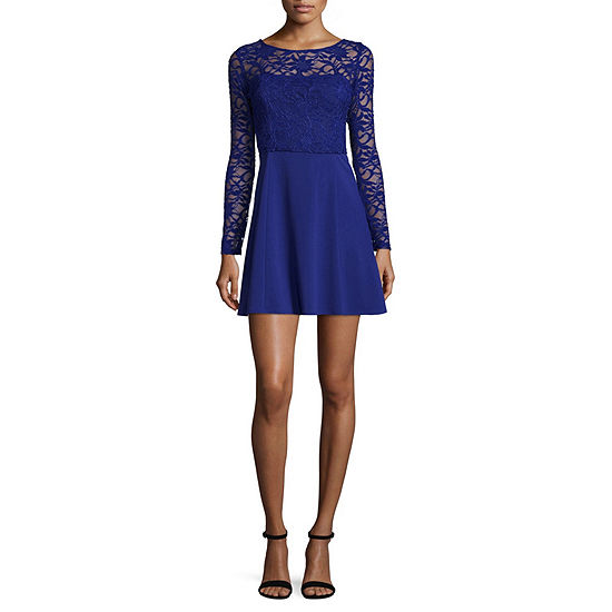 Reign On Long Sleeve Embellished Party Dress-Juniors