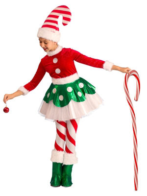 Buyseasons Candy Cane Elf Princess 4-pc. Dress Up Costume Girls