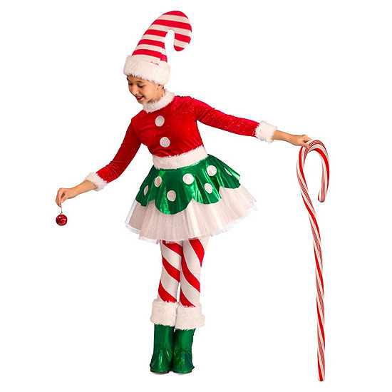 Candy Cane Elf Princess Child Costume 4-pc. Dress Up Costume Girls