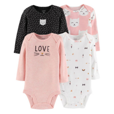 Carter's Little Baby Basics 4pk Long Sleeve Bodysuits- Baby