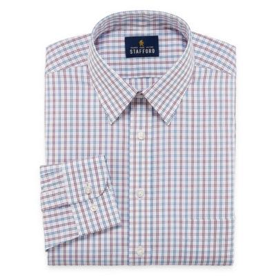 Stafford Comfort Stretch Big And Tall Long Sleeve Woven Plaid Dress Shirt