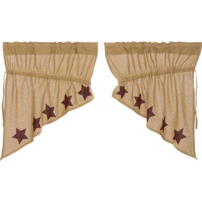 Primitive Window Burlap Stars Prairie Swag Pair