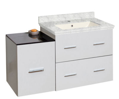 37.75-in. W Wall Mount White Vanity Set For 1 HoleDrilling Bianca Carara Top Biscuit UM Sink