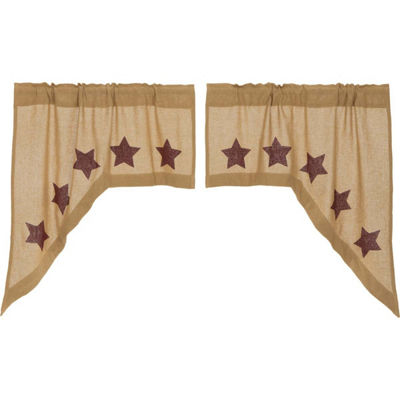 Primitive Window Burlap Stars Swag Pair