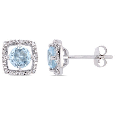 Diamond Accent Genuine Blue Topaz 10K White Gold 8.4mm Square Stud Earrings