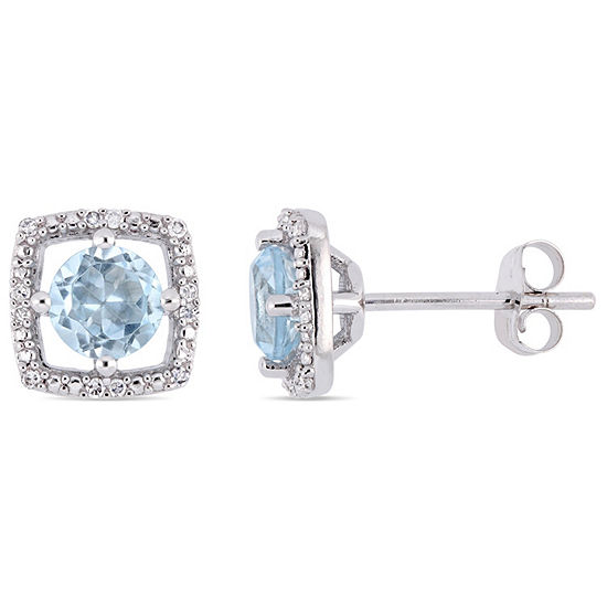 Diamond Accent Genuine Blue Topaz 10k White Gold 84mm Square Stud Earrings