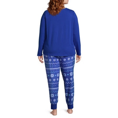 North Pole Trading Co. Womens-Plus Pant Pajama Set 2-pc. Long Sleeve Family