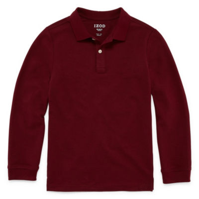 IZOD Pique Boys Long Sleeve Stretch Polo Shirt