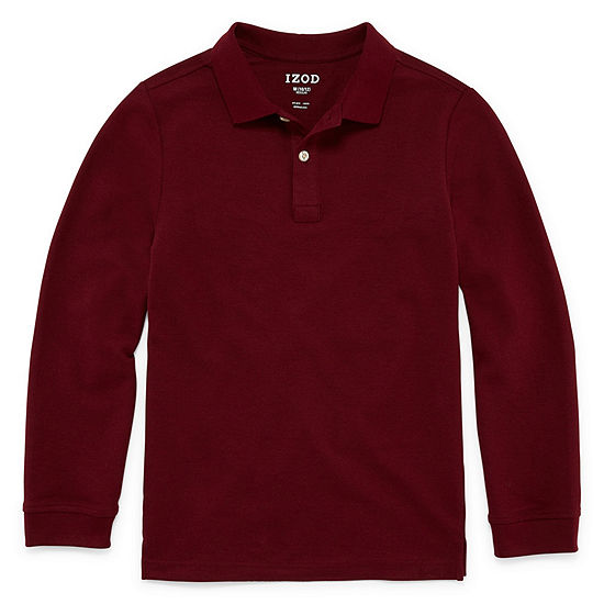 Izod Exclusive Pique Boys Long Sleeve Stretch Polo Shirt