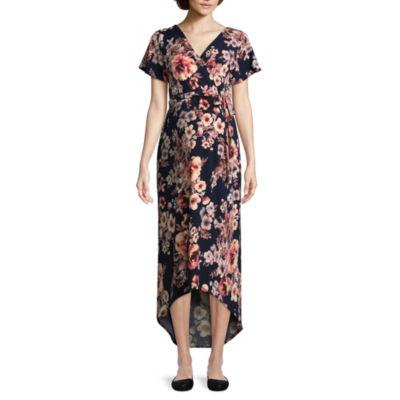 Short Sleeve Hi Lo Surplice Dress - Maternity