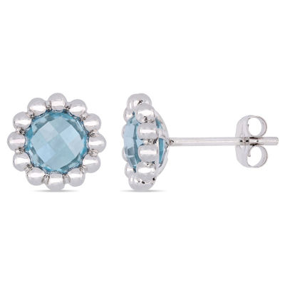 Genuine Blue Topaz 10K White Gold 9.3mm Flower Stud Earrings