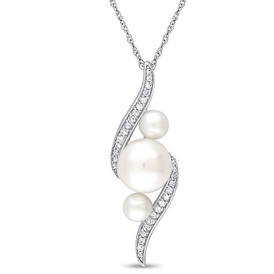Womens 1 8 Ct Tw White Cultured Freshwater Pearl 10k White Gold Pendant Necklace