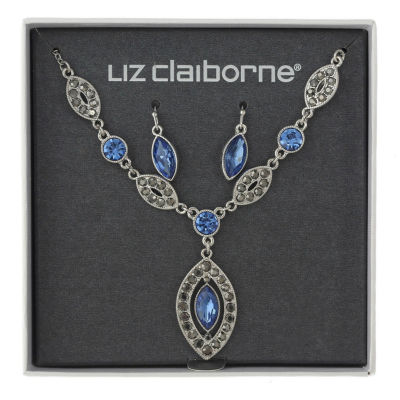 Liz Claiborne Blue Silver Tone 2-pc. Jewelry Set