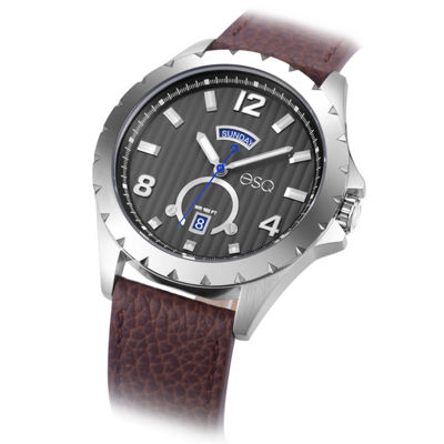 Esq Mens Brown Strap Watch-37esq007001a