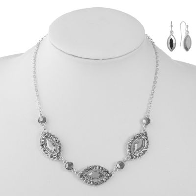 Liz Claiborne Gray Silver Tone 2-pc. Jewelry Set