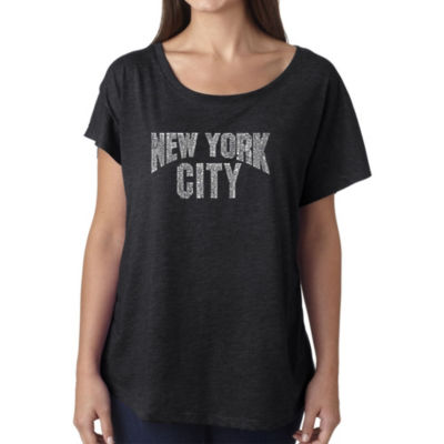 Los Angeles Pop Art Women's Loose Fit Dolman Cut Word Art Shirt - NYC NEIGHBORHOODS