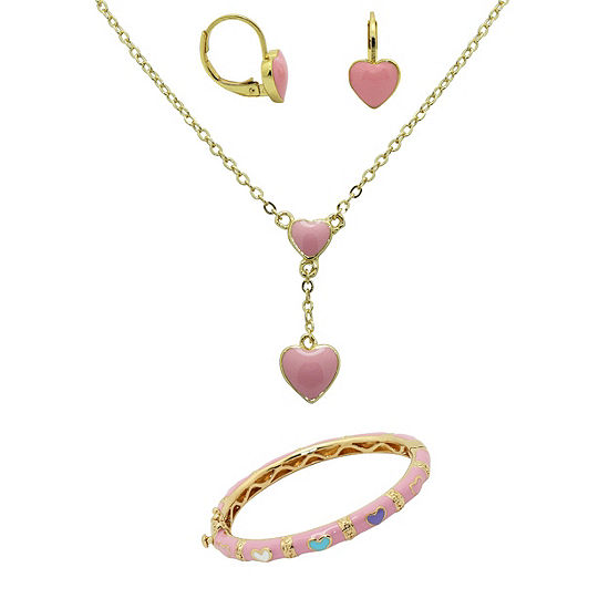 10K Gold Over Brass Heart 3-pc. Jewelry Set
