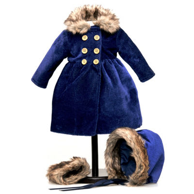 The Queen's Treasures Blue Velvet 18 Inch Doll Coat Outfit