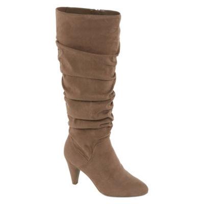 Worthington Womens Lara Slouch Cone Heel Zip Boots