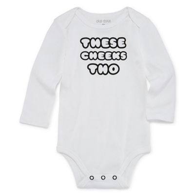 "Okie Dokie ""These Cheeks Tho"" Long Sleeve Slogan Bodysuit - Baby NB-24M"