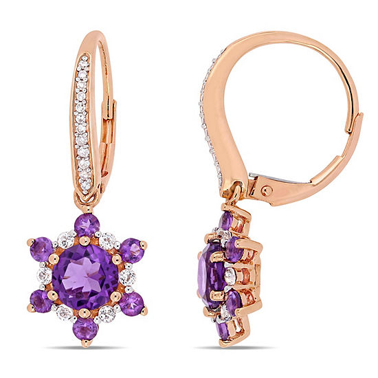 1 10 Ct Tw Genuine Purple Amethyst 10k Rose Gold Star Drop Earrings