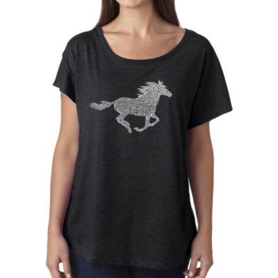 Los Angeles Pop Art Women's Loose Fit Dolman Cut Word Art Shirt - Horse Breeds